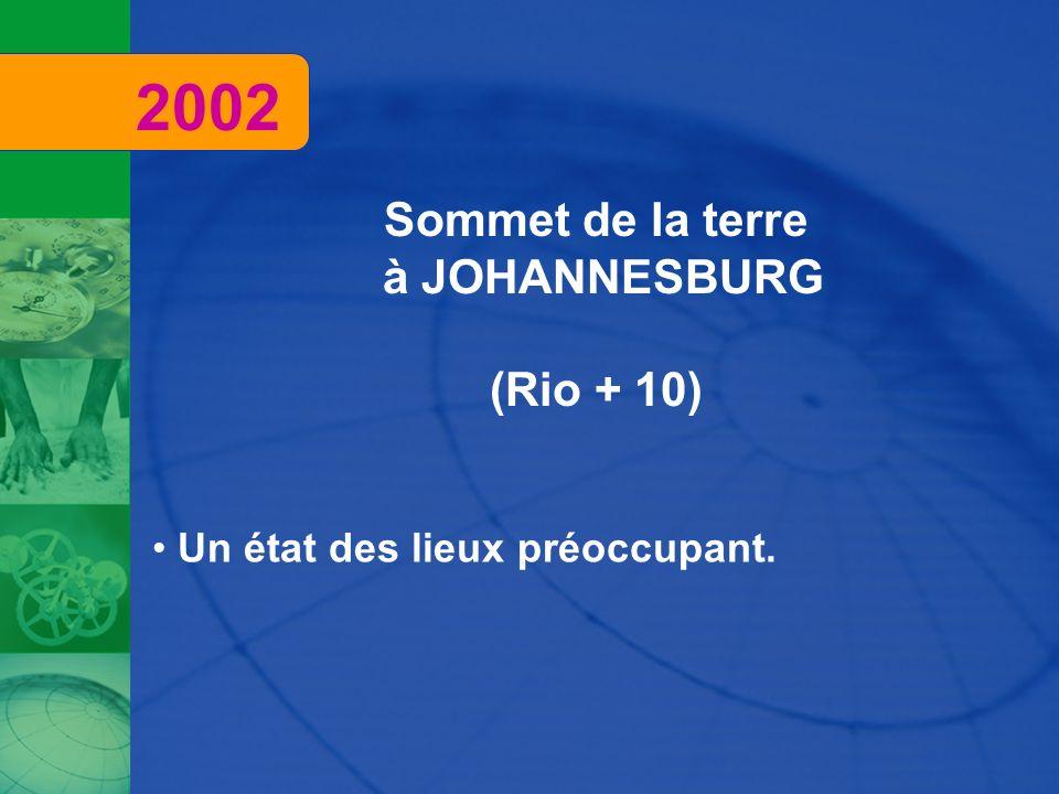 2002 Sommet de la terre à JOHANNESBURG (Rio + 10)