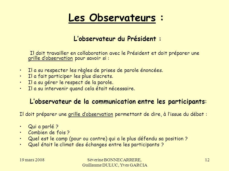 Les Observateurs : L'observateur du Président :