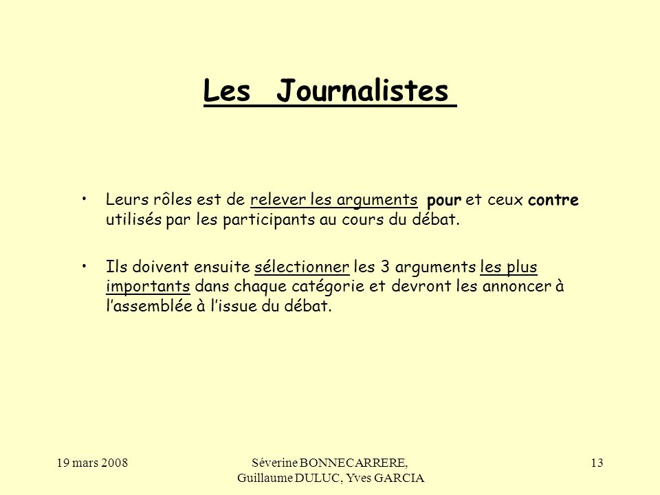 Séverine BONNECARRERE, Guillaume DULUC, Yves GARCIA