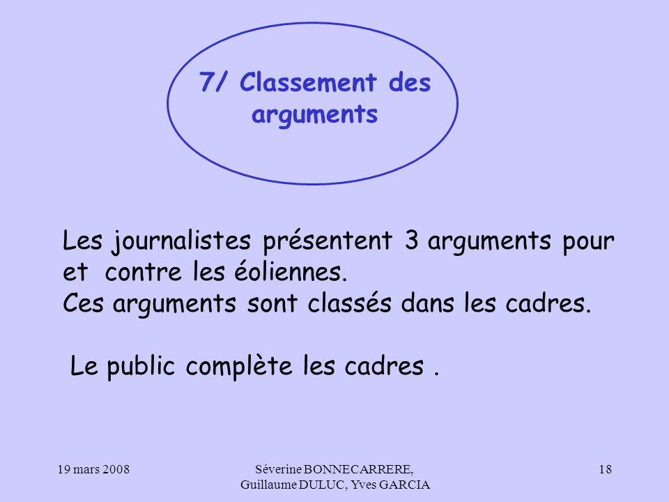 7/ Classement des arguments