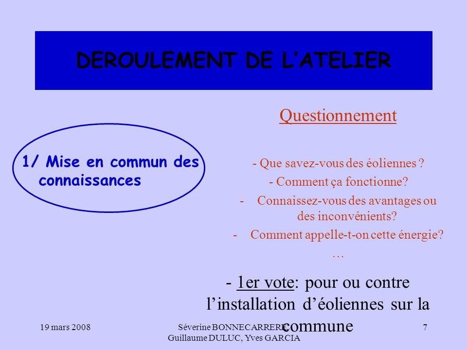 DEROULEMENT DE L'ATELIER