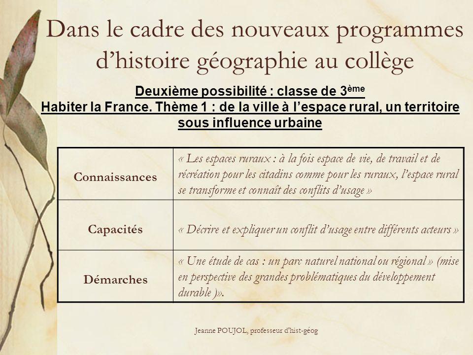 Dans le cadre des nouveaux programmes d'histoire géographie au collège