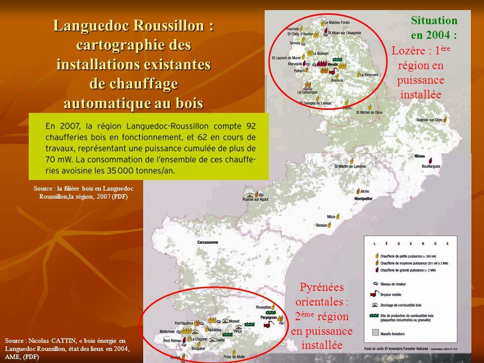 Languedoc Roussillon : cartographie des installations existantes de chauffage automatique au bois