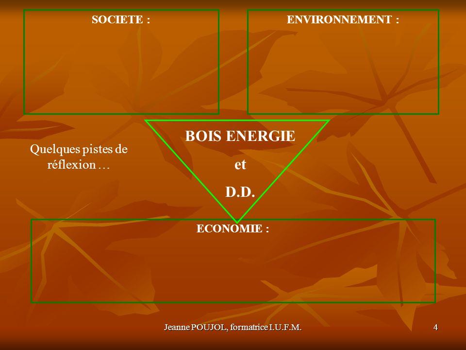 BOIS ENERGIE et D.D. Quelques pistes de réflexion … SOCIETE :