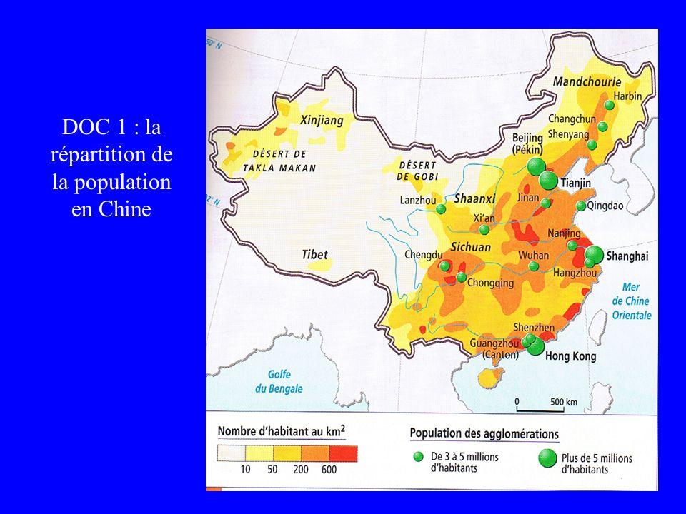 DOC 1 : la répartition de la population en Chine