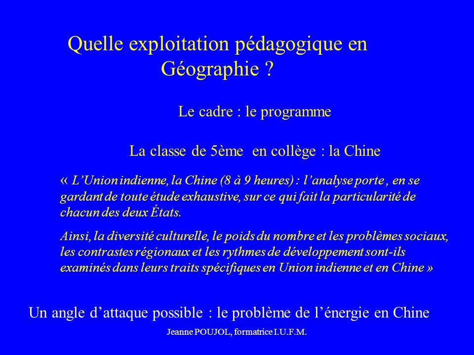 Quelle exploitation pédagogique en Géographie