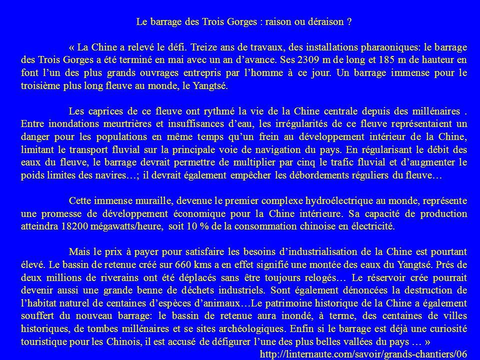 Le barrage des Trois Gorges : raison ou déraison