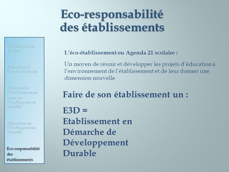 Eco-responsabilité des établissements
