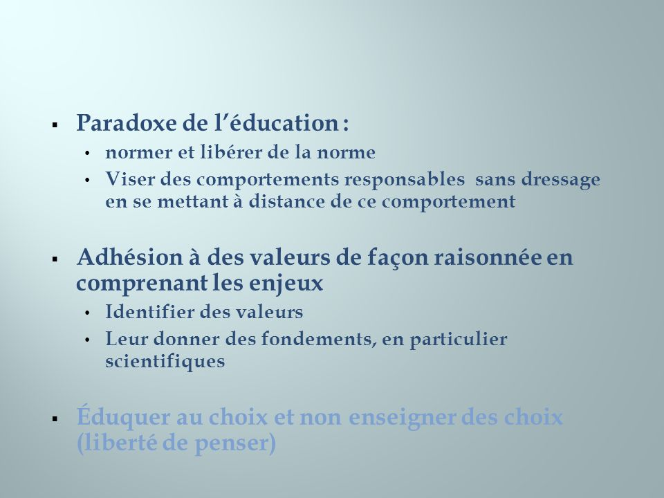 Paradoxe de l'éducation :