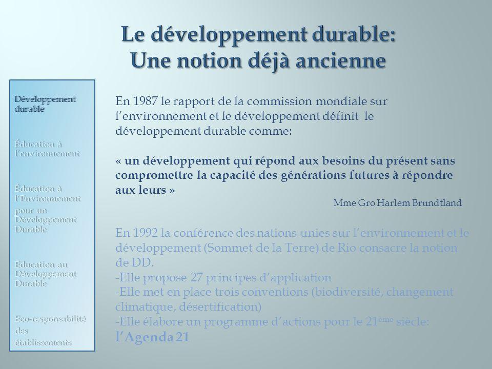 Le développement durable: Une notion déjà ancienne