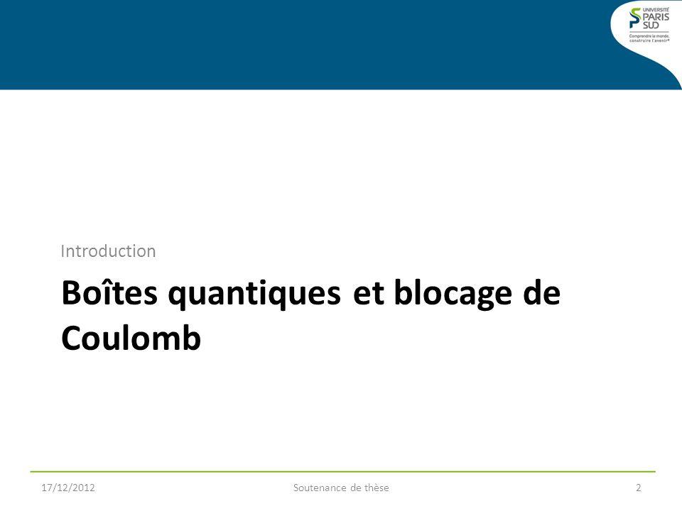 Boîtes quantiques et blocage de Coulomb