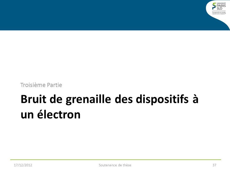 Bruit de grenaille des dispositifs à un électron