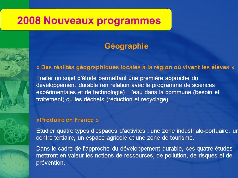 2008 Nouveaux programmes Géographie