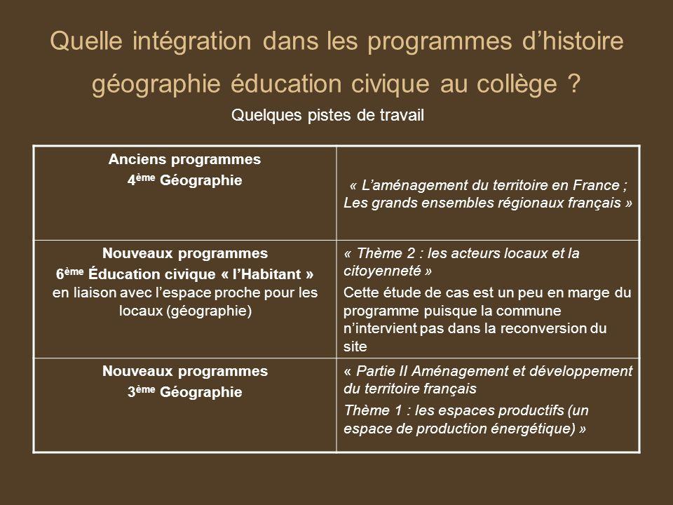 Quelle intégration dans les programmes d'histoire géographie éducation civique au collège