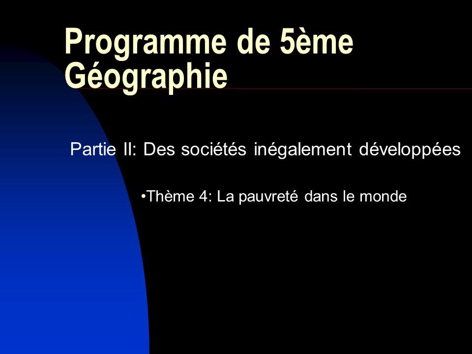Programme de 5ème Géographie
