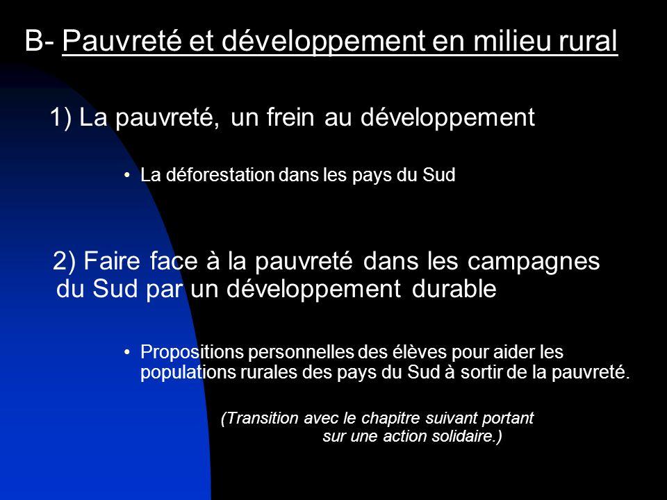 B- Pauvreté et développement en milieu rural