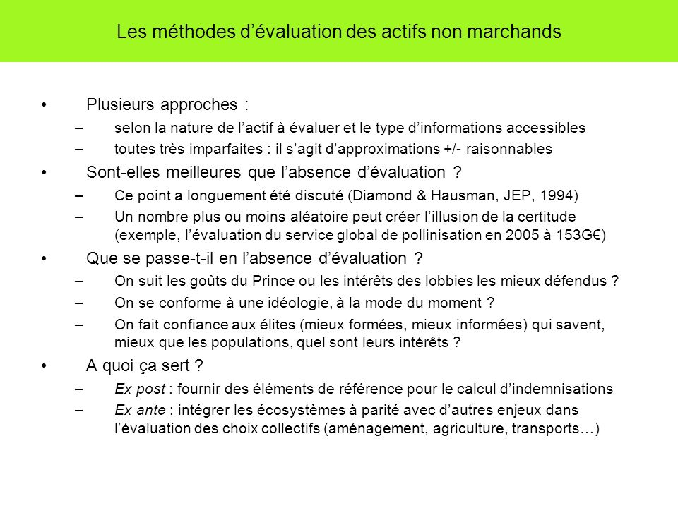 Les méthodes d'évaluation des actifs non marchands