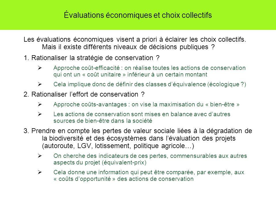 Évaluations économiques et choix collectifs