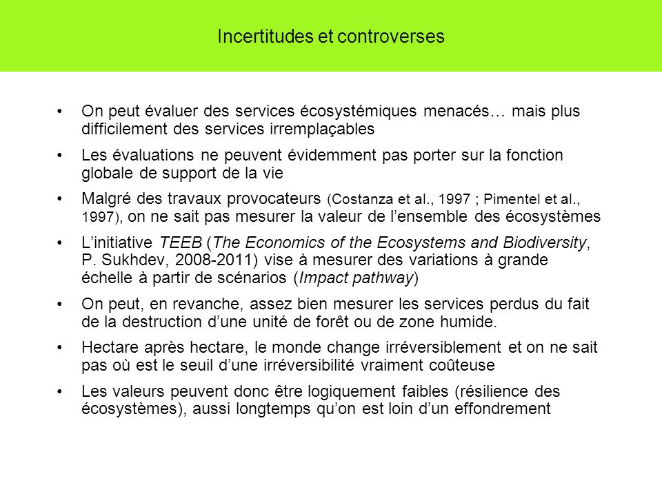Incertitudes et controverses