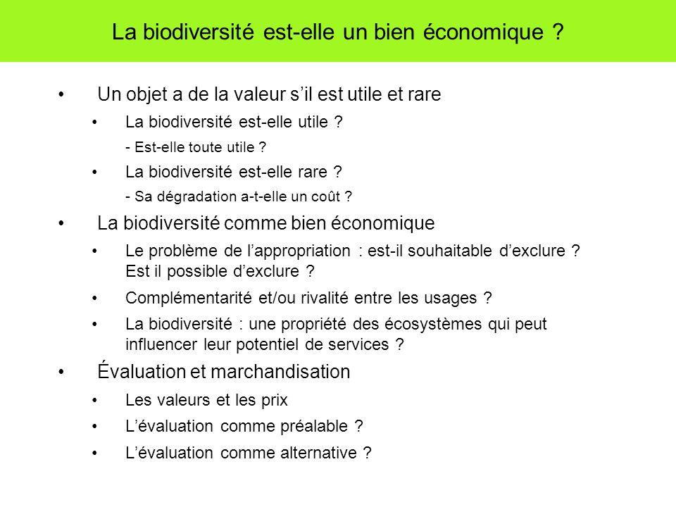 La biodiversité est-elle un bien économique