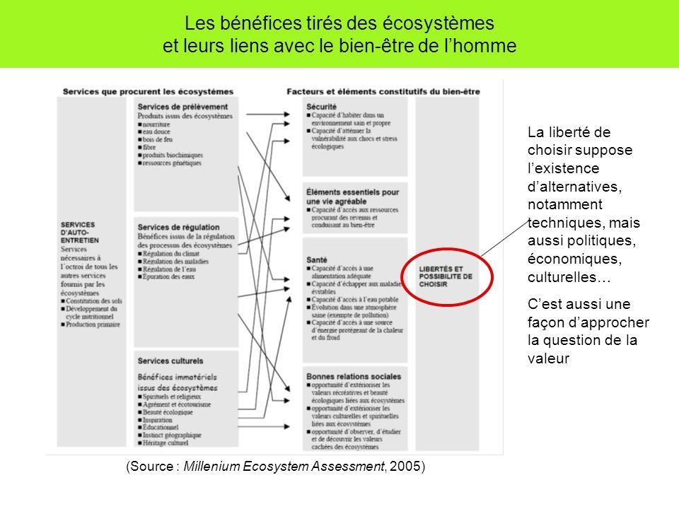 Les bénéfices tirés des écosystèmes et leurs liens avec le bien-être de l'homme