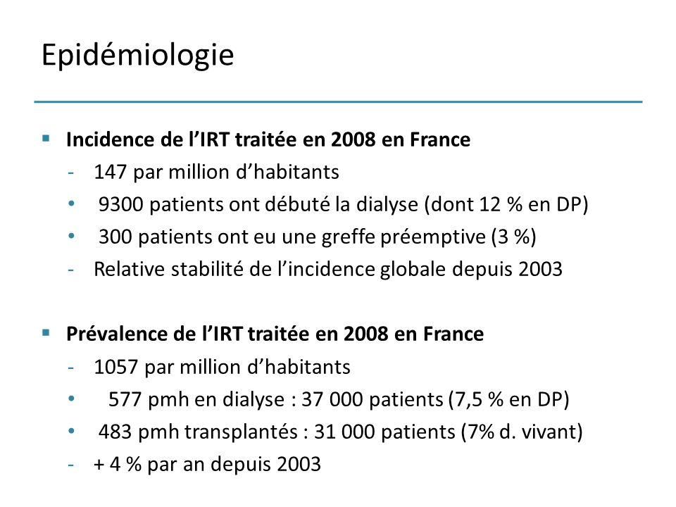 Epidémiologie Incidence de l'IRT traitée en 2008 en France