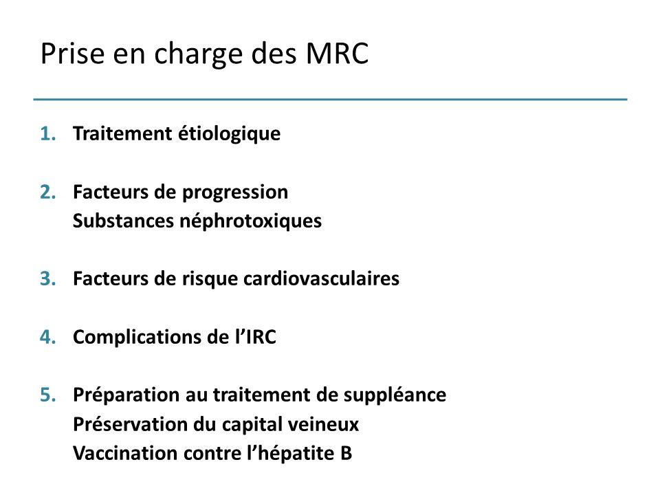 Prise en charge des MRC Traitement étiologique Facteurs de progression