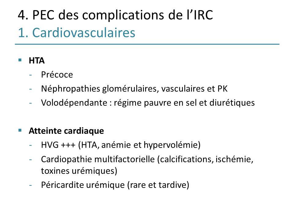 4. PEC des complications de l'IRC 1. Cardiovasculaires
