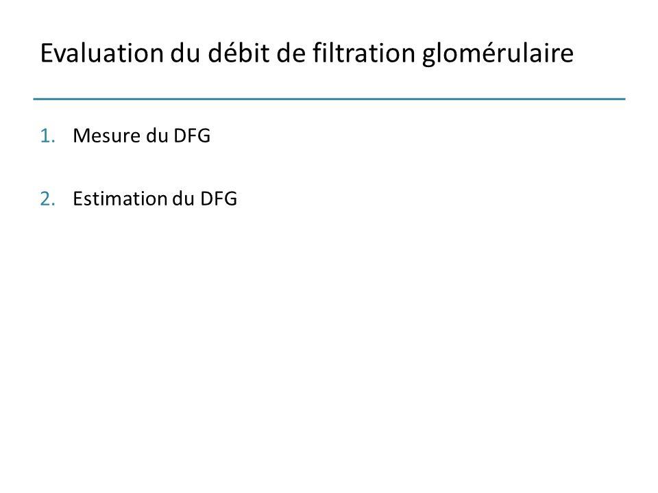 Evaluation du débit de filtration glomérulaire