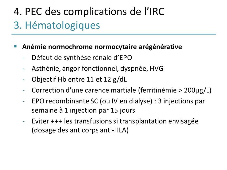 4. PEC des complications de l'IRC 3. Hématologiques