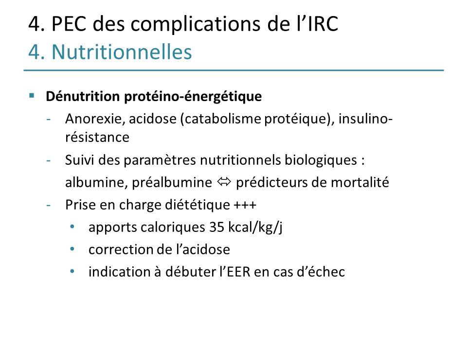 4. PEC des complications de l'IRC 4. Nutritionnelles
