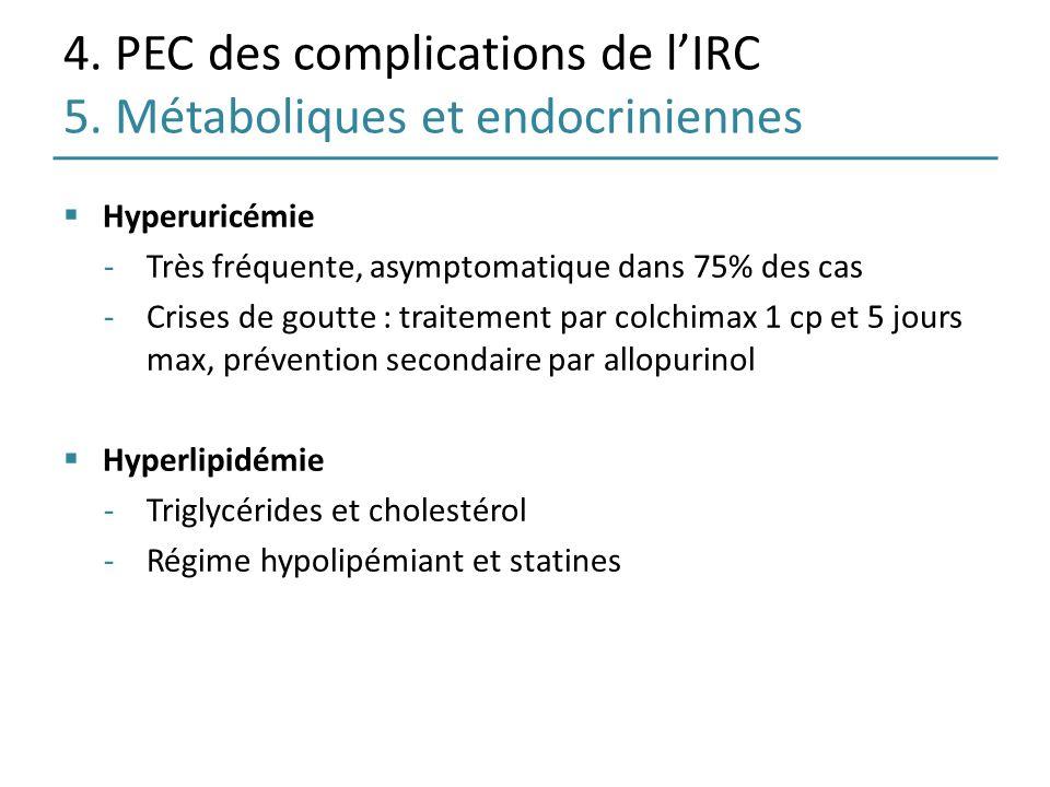 4. PEC des complications de l'IRC 5. Métaboliques et endocriniennes