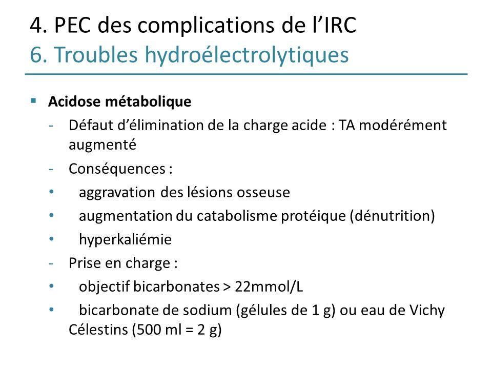 4. PEC des complications de l'IRC 6. Troubles hydroélectrolytiques