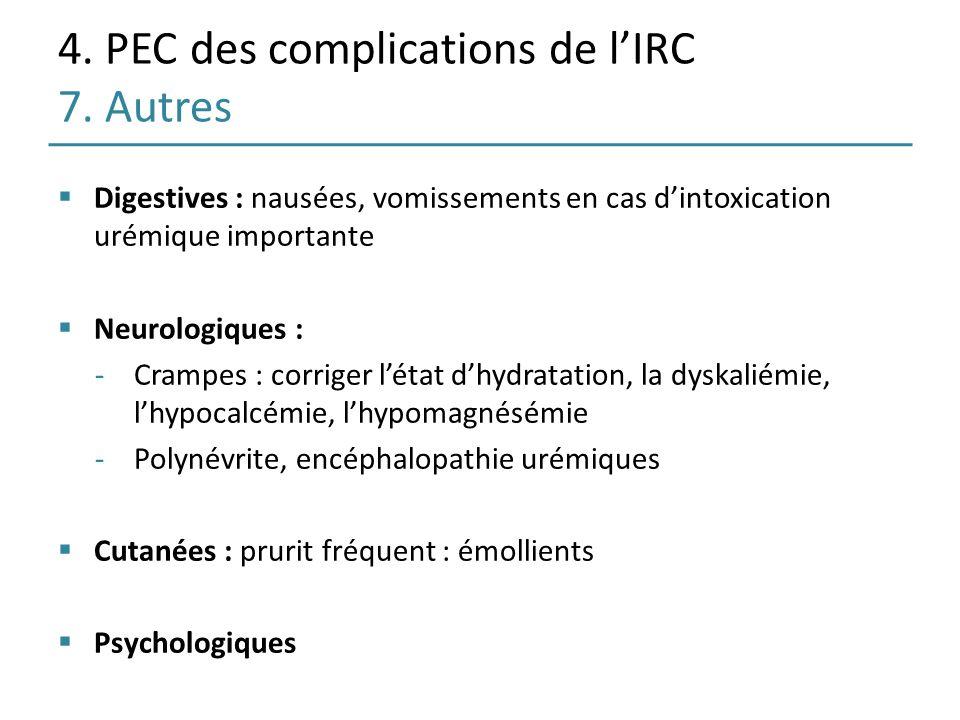 4. PEC des complications de l'IRC 7. Autres