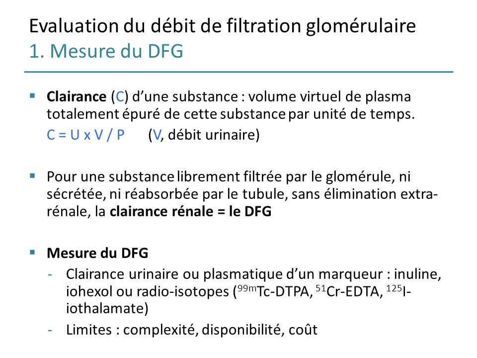 Evaluation du débit de filtration glomérulaire 1. Mesure du DFG