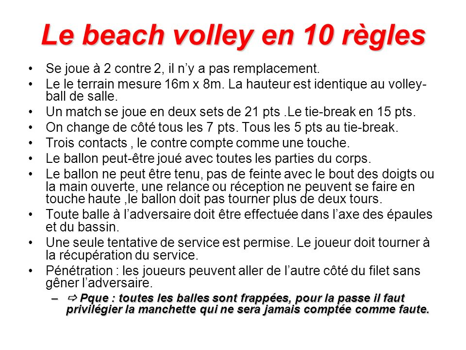 Le beach volley en 10 règles
