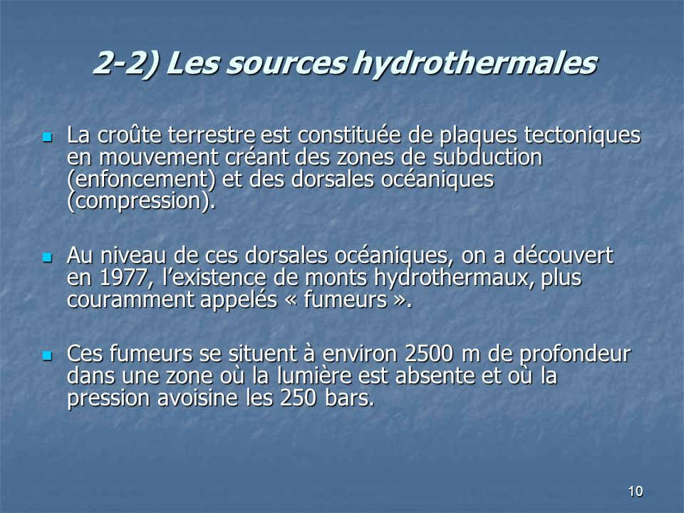 2-2) Les sources hydrothermales