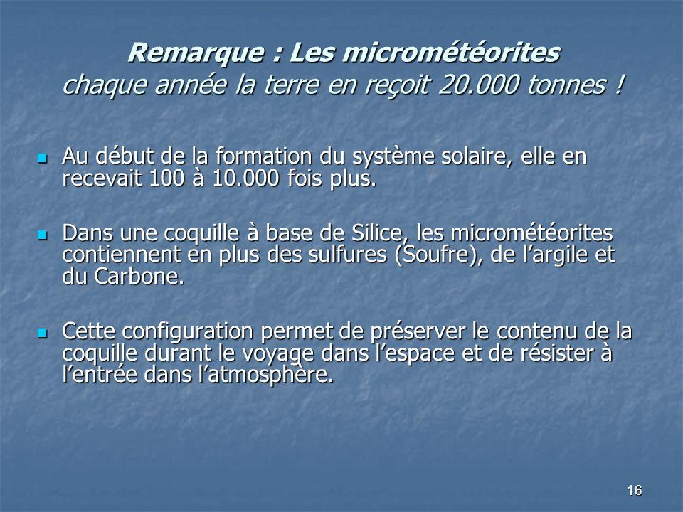 Remarque : Les micrométéorites chaque année la terre en reçoit 20