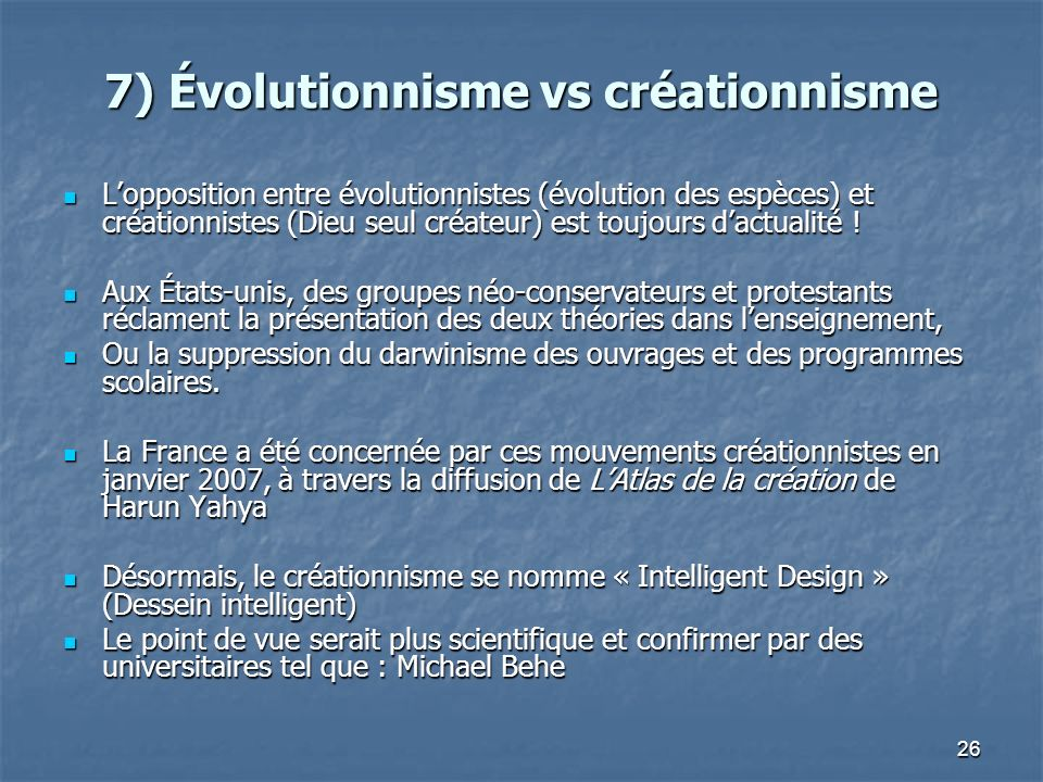 7) Évolutionnisme vs créationnisme