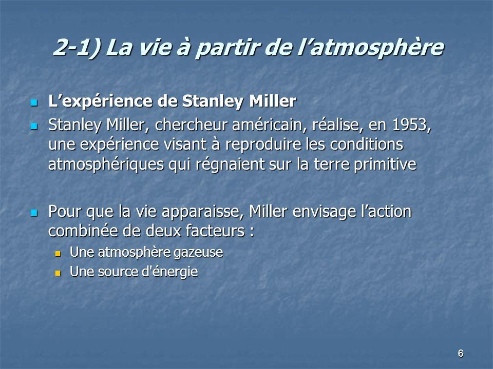 2-1) La vie à partir de l'atmosphère