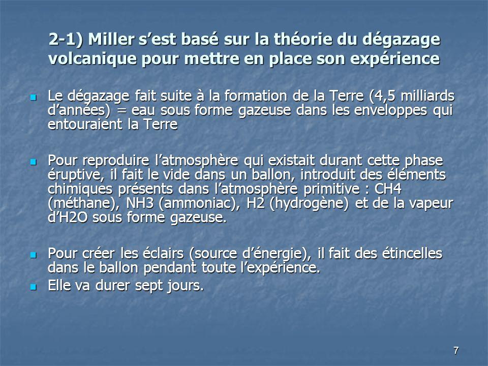 2-1) Miller s'est basé sur la théorie du dégazage volcanique pour mettre en place son expérience