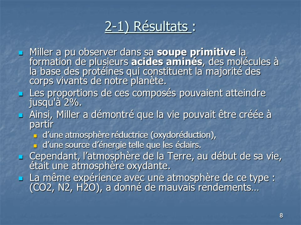 2-1) Résultats :