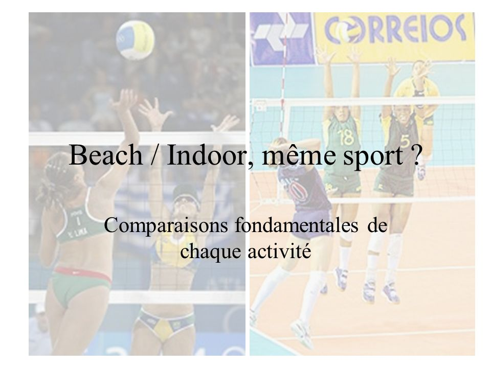 Beach / Indoor, même sport