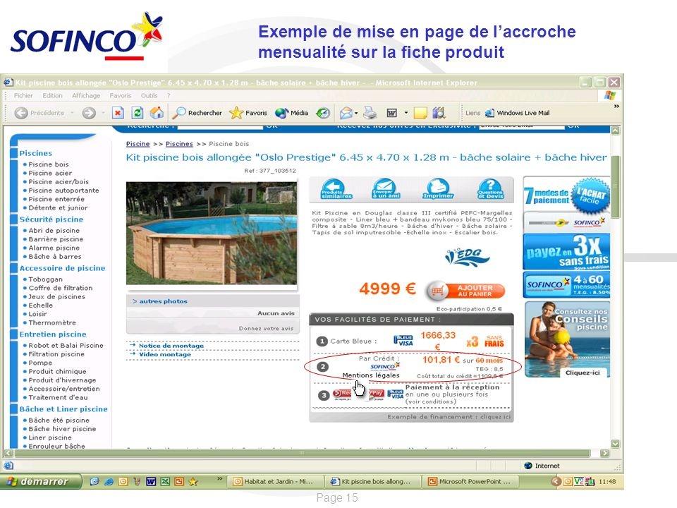 Exemple de mise en page de l'accroche mensualité sur la fiche produit
