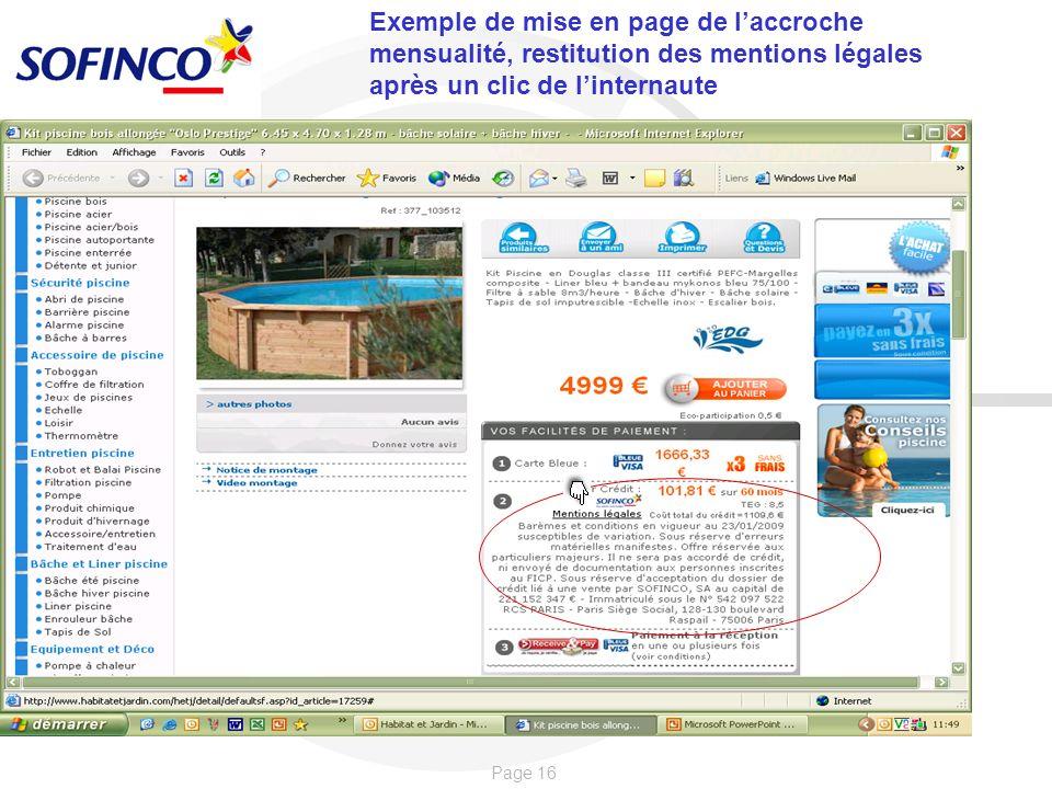 Exemple de mise en page de l'accroche mensualité, restitution des mentions légales après un clic de l'internaute