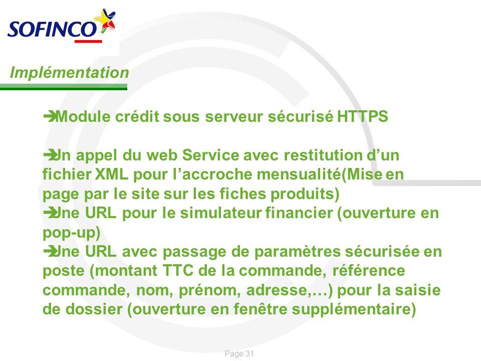 ImplémentationModule crédit sous serveur sécurisé HTTPS.