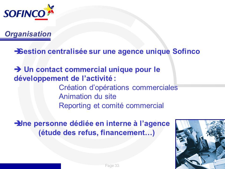 Organisation Gestion centralisée sur une agence unique Sofinco.  Un contact commercial unique pour le développement de l'activité :