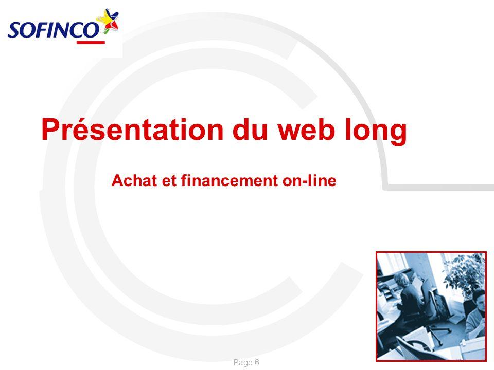 Présentation du web long Achat et financement on-line