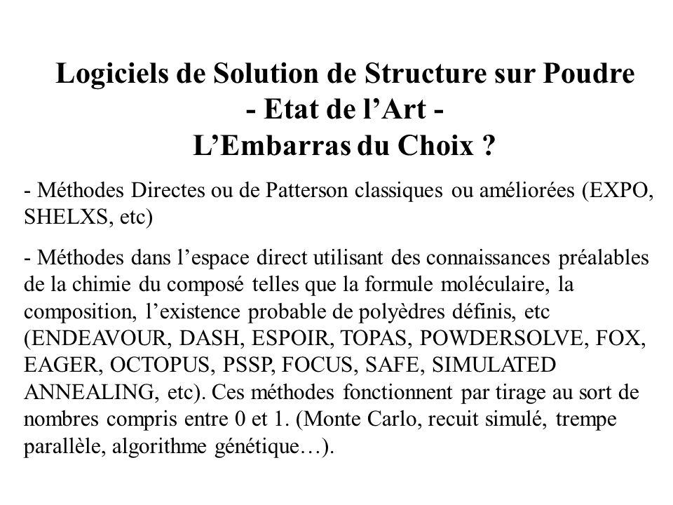 Logiciels de Solution de Structure sur Poudre - Etat de l'Art - L'Embarras du Choix