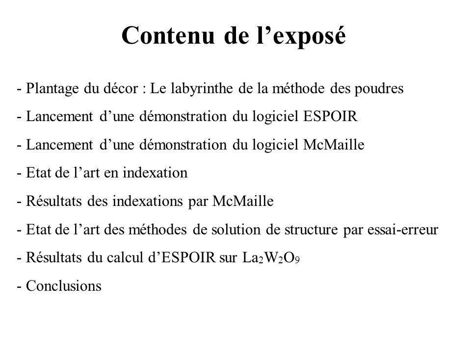 Contenu de l'exposé - Plantage du décor : Le labyrinthe de la méthode des poudres. Lancement d'une démonstration du logiciel ESPOIR.